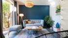 Décoration villa gardoise, Les Angles, salon bleu et gris