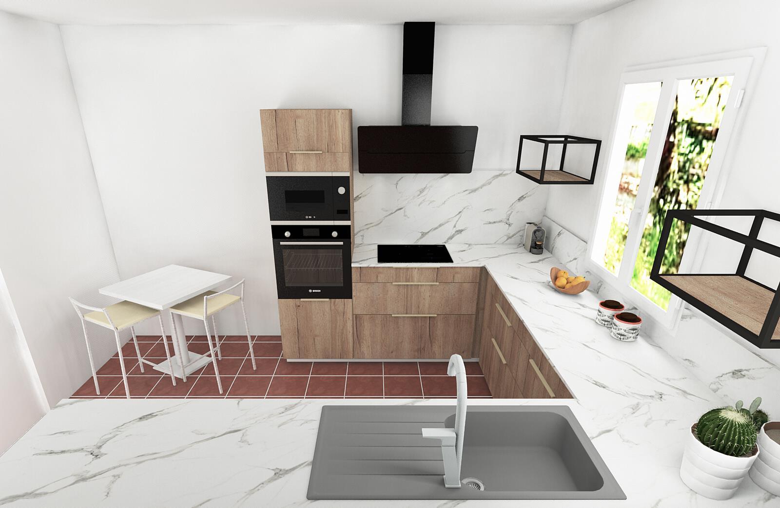 Conception cuisine par Kty.L, décoratrice d'intérieur, UFDI, Avignon et Nîmes : plan de conception de la cuisine